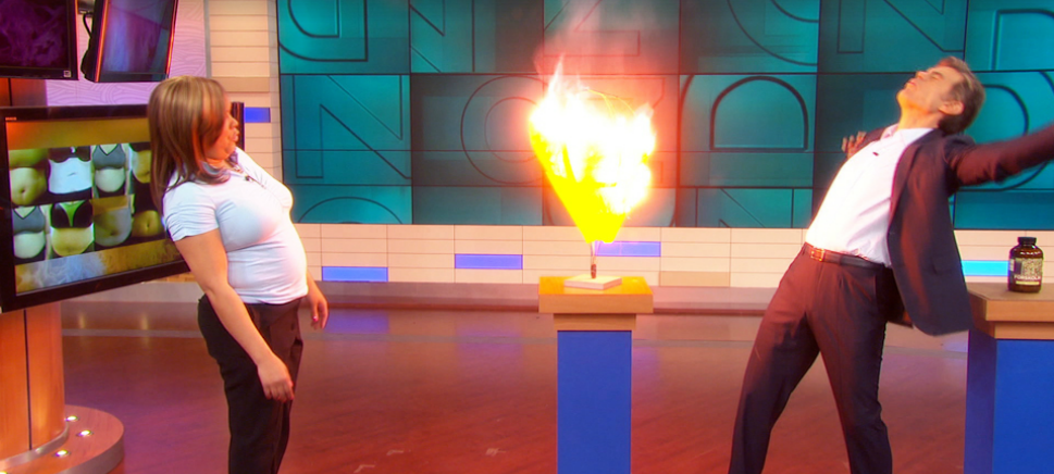 Dr. Oz showing how 'Forskolin' literally burns belly fat on yet another episode.  Flowery?
